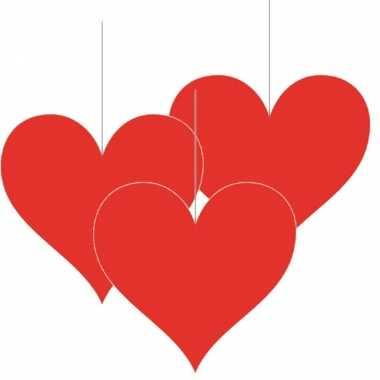 6x stuks hangversiering harten hartje 17 cm